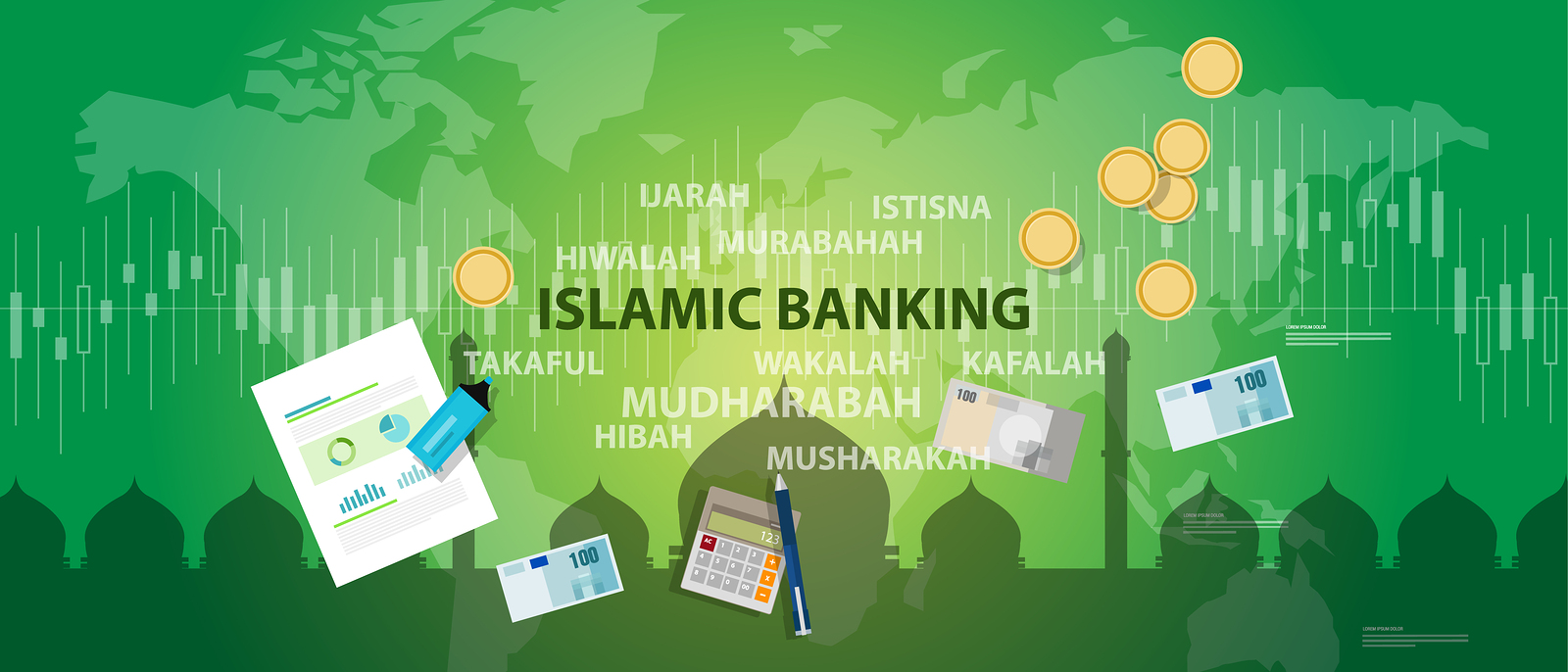 islamic banking sharia islam economy finance money management transaction concept